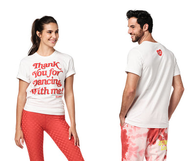 Zumba Thank You For Dancing With Me Tee - Wear it Out White Z3T00348