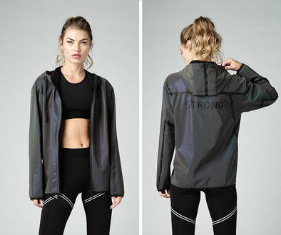 Strong Nation STRONG ID Holographic Reflective Zip-Up Hoodie - Z3T00374