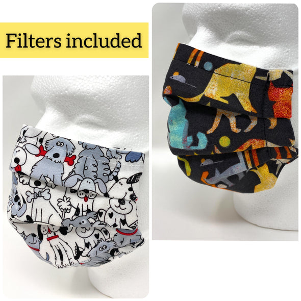 Dogs Cats Face Mask - Nose Wire Filter Pocket Pleated US Made - Filters Included