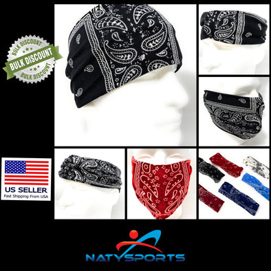 Bandana Print Paisley Headband / Face Mask, Cover, Shield, Bandana, Ponytail