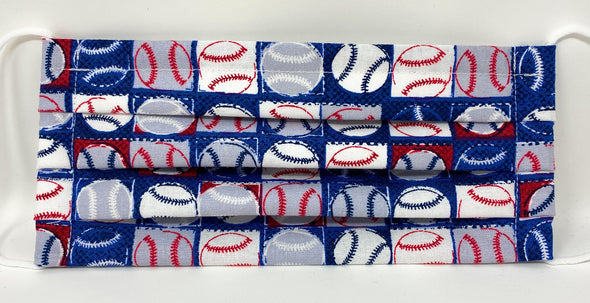 Baseball Face Mask - Nose Wire Filter Pocket Pleated US made - Filter Included