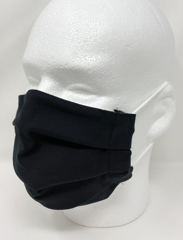 Face Mask - Pleated with Nose Wire Filter Pocket US made - Black
