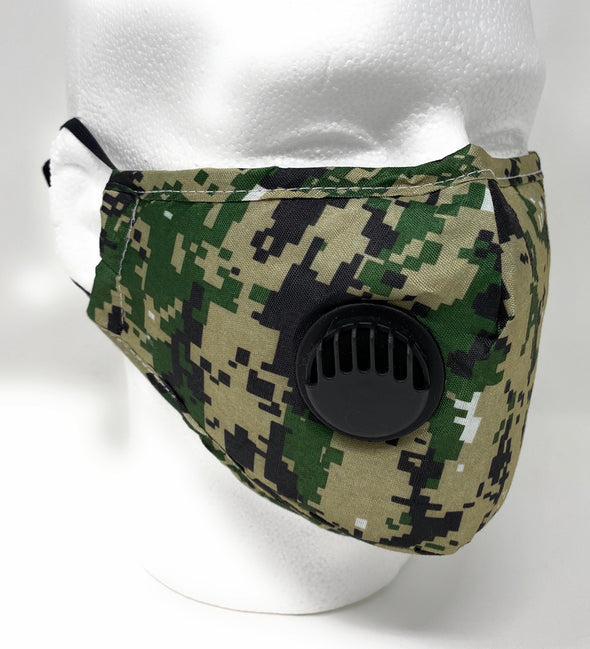 Digital Camo Face Mask SAFE Breathing Valve Filter Pocket Nose Wire Adjustable