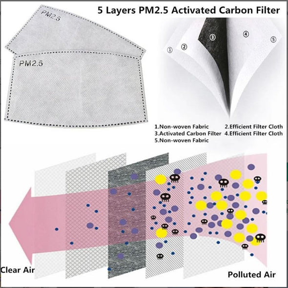PM2.5 Activated Carbon 5 layers Filter for Face Mask - 2/5/10 Pack - Adult/Child