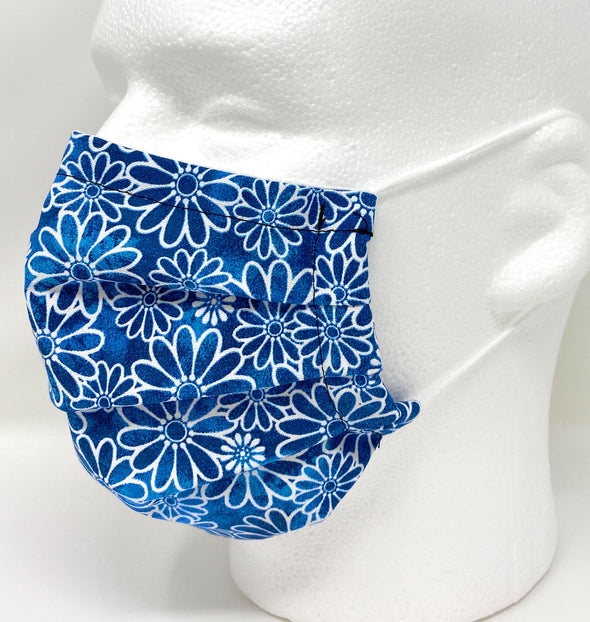 Floral Face Mask - Pleated Nose Wire Filter Pocket US made - Filters Included