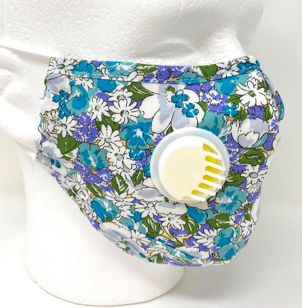 Floral Face Mask with SAFE Breathing Valve Filter Pocket Nose Wire Washable