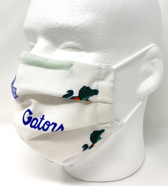 Gators UF Face Mask - Pleated with Nose Wire Filter Pocket - Filters Included