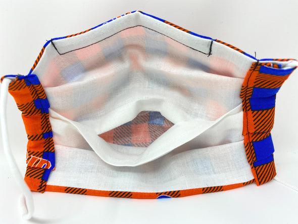 Face Mask - Pleated with Nose Wire Filter Pocket US made - Gators UF / Orange