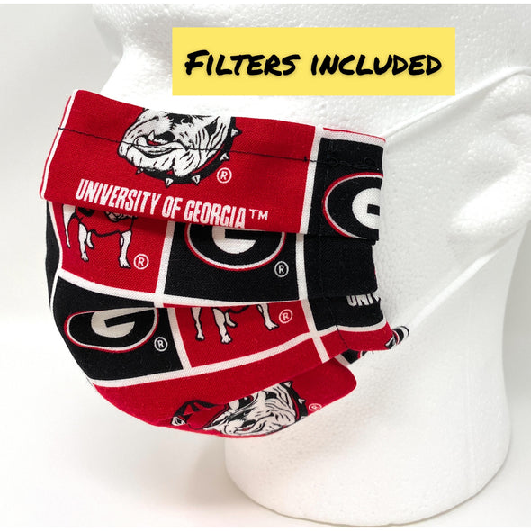 Georgia Bulldogs Face Mask - Pleated with Nose Wire Filter Pocket US made