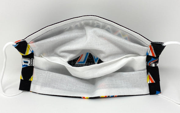 Miami Marlins Face Mask with Filter Pocket Nose Wire Pleated - MLB Baseball