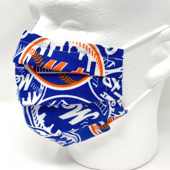 NY Mets Face Mask with Filter Pocket Nose Wire Pleated - MLB Baseball