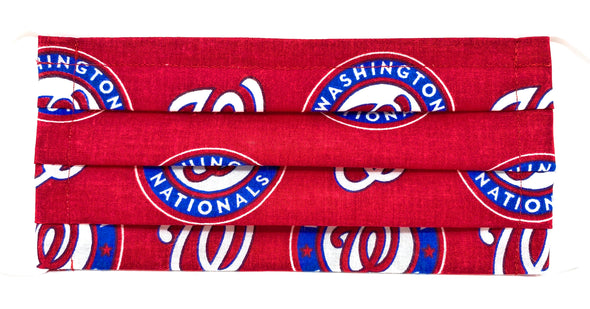 Washington Nationals Face Mask with Filter Pocket Nose Wire Pleated - MLB