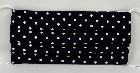 Polka Dots Face Mask Pleated Nose Wire Filter Pocket US made - Filter Included