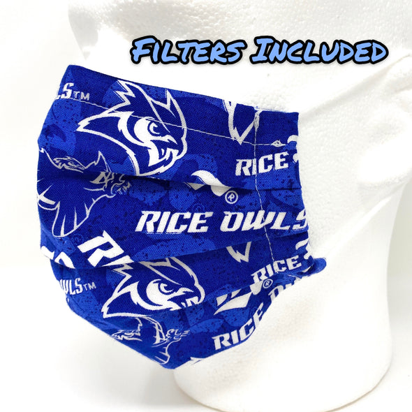 Rice Owls Face Mask Nose Wire Filter Pocket Pleated - Rice University