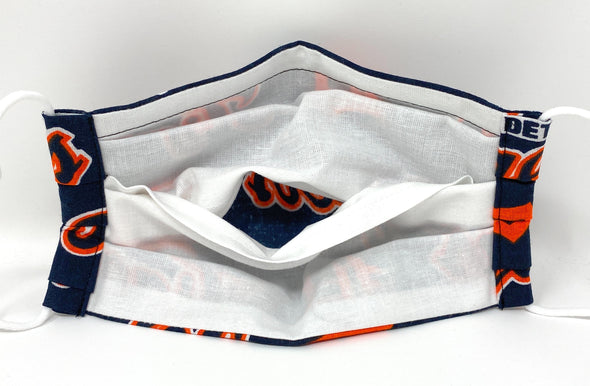 Detroit Tigers Face Mask with Filter Pocket Nose Wire Pleated - MLB Baseball