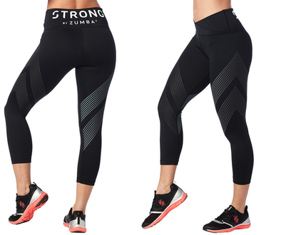 Strong by Zumba High Waisted Crop Leggings - Bold Black Z1B00683 Small