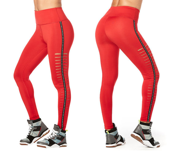 Zumba Lovers High Waisted Slashed Ankle Leggings - Viva la Red Z1B00929 Large