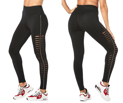 Zumba Lovers High Waisted Slashed Ankle Leggings - Bold Black Z1B00929