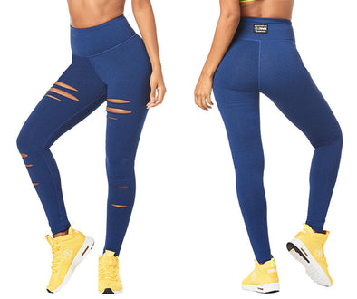 Zumba High Waisted Slashed Long Leggings - Night Sky Z1B00931