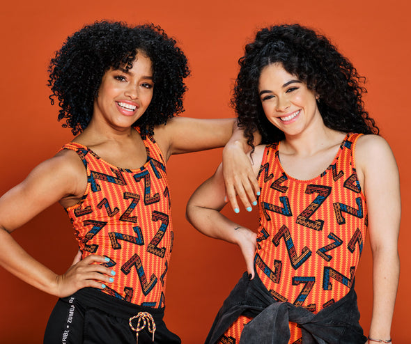 Zumba Dance Tribe Bodysuit -  Orange You Hot Z1B00943 size XS