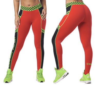 Zumba Less Talk More Dance Printed Ankle Leggings - Really Red-y Z1B00985