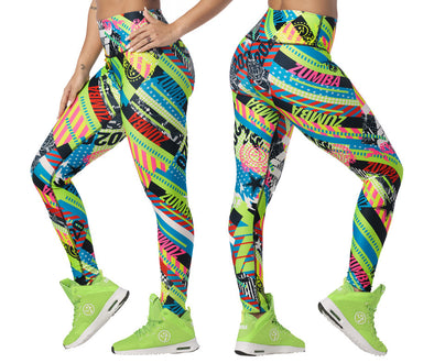 Zumba 2020 High Waisted Long Leggings - Get in Lime Z1B00986