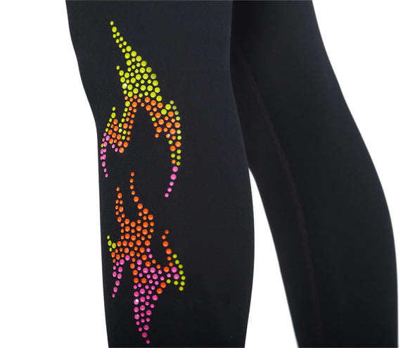 Zumba Flame Leggings With Swarovski Crystals - Bold Black Z1B01039