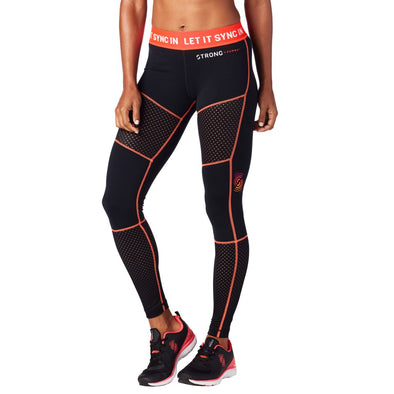 STRONG By Zumba Let It Sync In Paneled Mesh Leggings Z1S00057 2XL