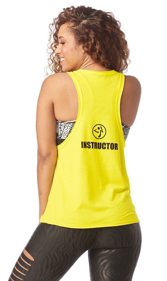 13f9f31e5a Zumba Dance Outside Instructor Loose Tank- Mell-oh-Yellow Z1T01716 ...