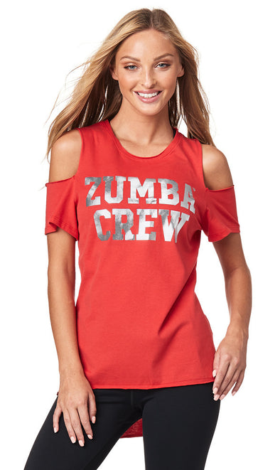 Zumba Crew Cold Shoulder Top - Well Red Z1T01836
