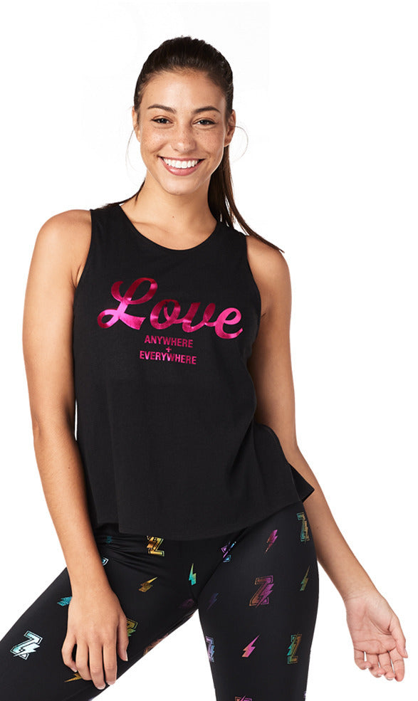 Zumba Love Anywhere Open Back Tank - Bold Black Z1T01853