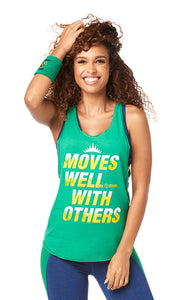 Zumba Moves Well With Others Tank - Groovin Green Z1T01889