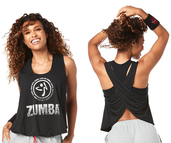 Zumba For Zumba Lovers Cross Back Tank - Bold Black Z1T01891