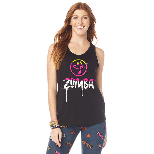 Zumba Dripping In Zumba Loose Tank - Bold Black Z1T01964