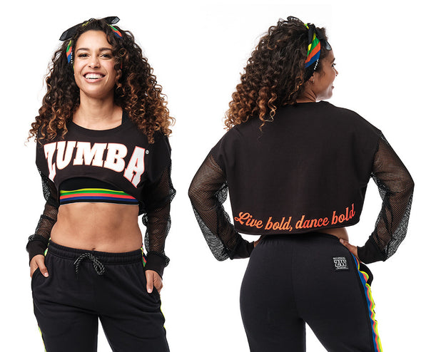 Zumba Long Sleeve Crop Top - Bold Black Z1T02395