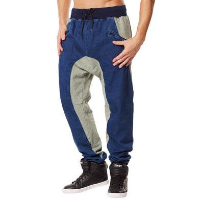 Zumba Mens Dynamic Duo Harem Dance Pants - Denim Z2B00108