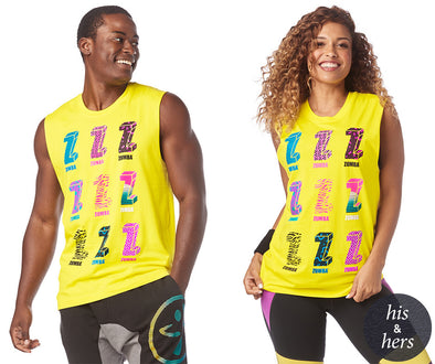 Zumba I Want My Zumba Muscle Tank - Mell-oh Yellow Z3T00171