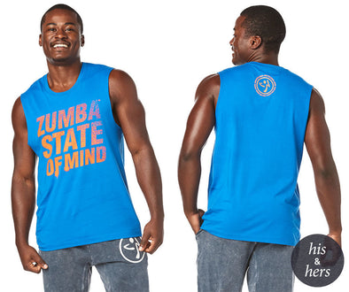 Zumba State Of Mind Muscle Tank - True Blue Z3T00232