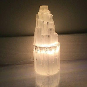 Small Selenite Skyscraper Lamp
