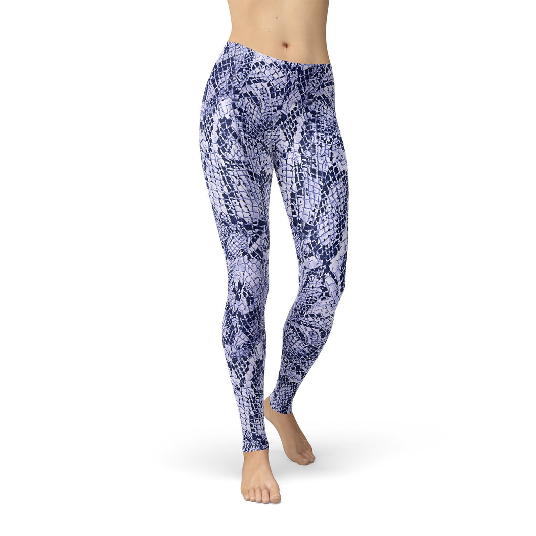 Blue Snake Skin Leggings