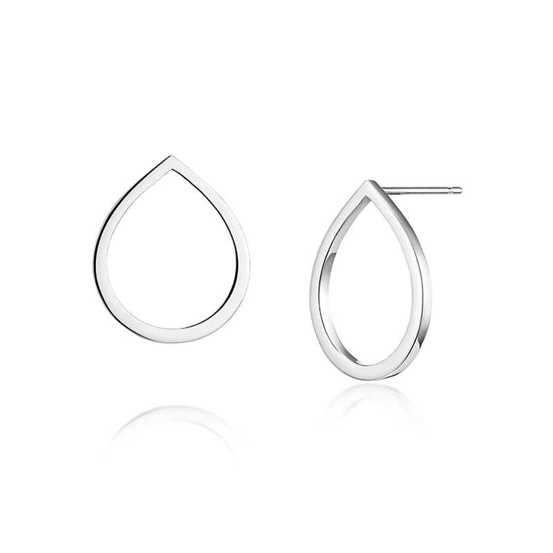 Modern and contemporary single raindrop earrings made in silver
