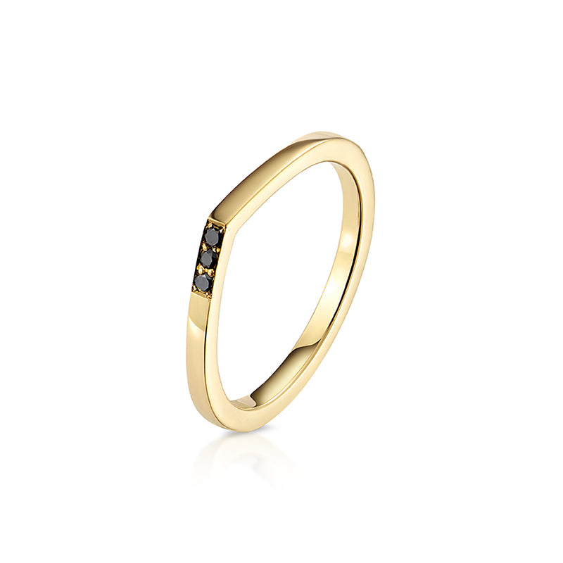 Modern and contemporary single raindrop ring in 18ct yellow gold set with three brilliant cut black diamonds