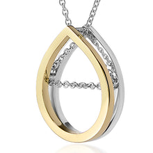 Modern and contemporary 18ct yellow gold and silver raindrop pendant necklace