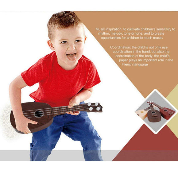 GEEDIAR 4 String Mini Guitar Kids Musical Instruments Educational Toy for 2-4 Years old Children (Coffee)