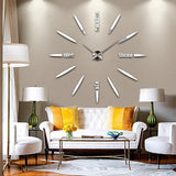 DIY 3D Large Wall Clock Models Home Decoration Mirror Wall Stickers Big Clock Gift Recommend (Silver)