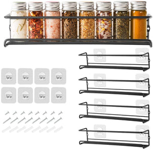 GEEDIAR Spice Racks Organiser - 4 Tier Hanging Stainless Steel Spice Racks Wall Mounted with Adhensive Stickder & Screws - Kitchen & Pantry Shelf for Spices and Condiments, Spice Jars (Black)