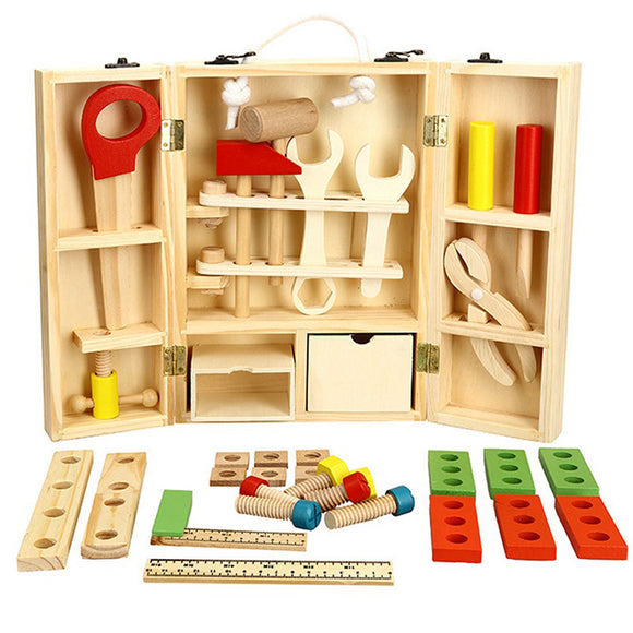Wooden Toolbox Kids Educational Toy DIY Construction Toolbox Pretend Toys 43pcs