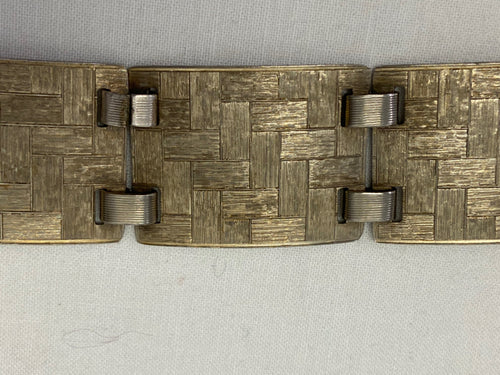 Sterling Silver Vintage Napier Linked Textured Rectangles Bracelet