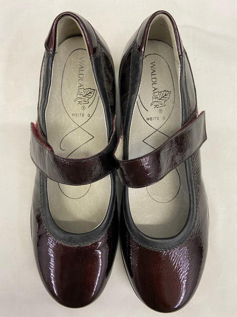 Mary Jane Style Burgundy Patent Leather Womens Shoes UK 4.5 US 7 New