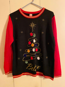 Holiday Time Ugly Christmas Sweater Jr Size L (12-14) Acrylic